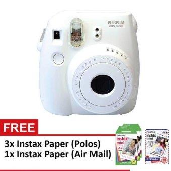 Fujifilm Instax Mini 8 Instant Camera White + Paket Paper (White)