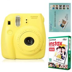 Fujifilm Instax Mini 8 Instant Camera (Yellow) + Fuji White Edge Instant 10 Film + Hanging Wall Album