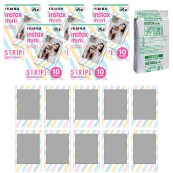 Fujifilm Instax Mini Stripe Instant 50 Film For Fuji 7.8 2.50.70 90 / Polaroid 300 Instant Camera / Share SP-1