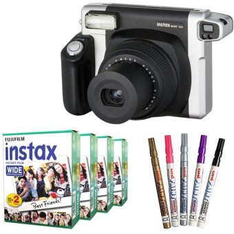 Fujifilm Instax WIDE 300 Instant Camera + WIDE White 80 Film (Black) + Pen