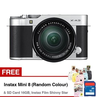 Fujifilm X-A3 Mirrorless Camera with XC 16-50mm Lens - 24.2MP - Compatible with Fujifilm App - Wifi - Hitam + Gratis SD Card 16GB + Gratis Instax Mini 8 (Random Color) + Gratis Instax Film Shinny Star