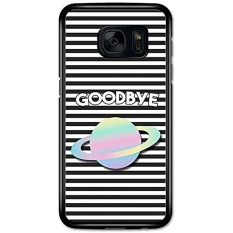 Funny Goodbye with Planet on Black and White Grunge Horizontal Stripes case for Samsung Galaxy S7 - intl