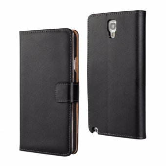Genuine Leather Wallet Case Cover for Samsung Galaxy Note 3 Neo(Black) - intl