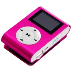 GETEK 32GB Micro SD TF Card FM Radio USB Mini Clip MP3 Player LCD Screen (Pink)