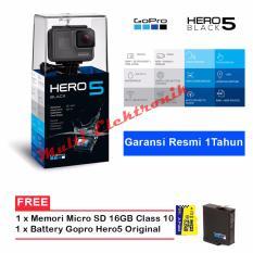 GOPRO Hero 5 - ActionCamera 12MP - Hitam + Extra Battery Original + memori micro 16GB class 10