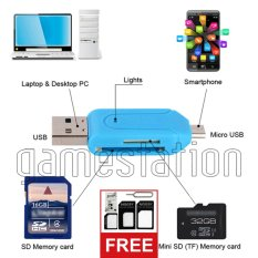 GStation OTG Card Reader for SDHC Micro SD 2 in 1 + Nossy Sim Card Adapter 3 in 1