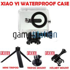 GStation WaterProof Case for Xiaomi Yi Action Camera + Tripod Mount + Helmet Mount + Mini Tripod - White
