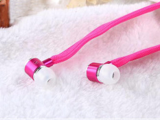 High Quality Stereo Headset In Ear Metal Shoelace Earphone Handsfree Headphones with Mic 3.5mm Earbuds For All Phone MP3 Player-Pink (Intl)