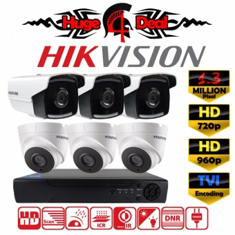 Hikvision DS-2CE16C3T-IT3 & DS-2CE56C3T-IT3 8CH HD CCTV 6 pieces Bullet and Dome Camera 1.3 MP DVR Kit Set TVI Decoding New EXIR 2017 Model 720p / 960p 3.6mm Lens Digital Video Recorder Free Adapter Free Camera Bracket ( DS-2CE16C7T / DS-2CE16C0T ) -