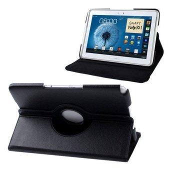 Hitam 360 Derajat Rotasi PU Kulit Jual Penutup Kasus Stan Samsung Galaxy NOTE 10.1 N8000 N8010