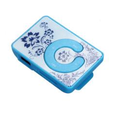 HKS 32GB Mini Clip Flower Pattern MP3 Player (Blue) (Intl)