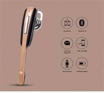 HM1000 Wireless 4.1 Bluetooth Headset Ear Hook Sports Bluetooths Handsfree Earphone Headphone For Smart Phone - Gold