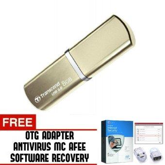 Harga Transcend Flashdisk 8GB USB 3.0 JF820G - Gold + Gratis Antivirus MC Afee Trend's OTG