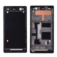 IPartsBuy Rumah Depan Penggantian Dengan Stiker Perekat Untuk Sony Xperia C3 (Hitam)