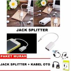 Jack Splitter Audio Stereo Universal / Jack Stereo Audio 3.5mm Paket Murah + OTG Micro Usb