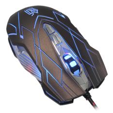 Jianshengyizu JS-X9 10-Key 500-1200-2400-3200DPI 4-Mode LED USB Wired Gaming Mouse (Brownish Black) (Intl)