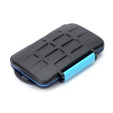 JJC Water Proof Plastic CF / SD Memory Card Case - Black + Blue
