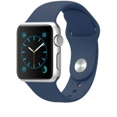 JTS Soft Silicone Fitness Replacement Sport Band For 38mm Apple Watch All Models, Midnight Blue (3 Pieces Of Bands Included For 2 Lengths, Not Fit Apple Watch 42mm Version 2015) - Intl