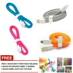 Car Charger 2 Port USB Multicolour Gratis 4 Pelindung Kabel 2 Warna 1 .