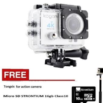 Kogan Action Camera 4K UltraHD - 16MP - Putih - WIFI + Tongsis +Strontium microsd 16gb Class 10
