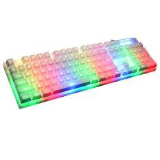 Leegoal Mechanical Feel Gaming Keyboard 7 Color Backlit LED USB Wired Game Keyboard, White