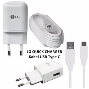 LG Original Quick Charger + Kabel Type C USB Fast Charging - Putih