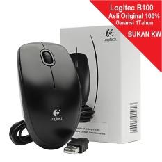 Logitech B100 Standard Optical Cable Mouse B 100 Original 100% Garansi Resmi 1 Tahun - Hitam