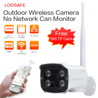 LOOSAFE LS-SC4-WI 1080P Wireless WIFI Security CCTV Indoor/Outdoor Waterproof IP Bullet Camera With 16G TF Card