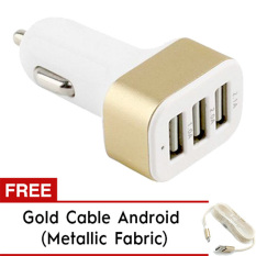 Lucky - Car Charger 5.1A 3 Port Casan Mobil + Gratis Kabel Tali Metallic Micro Usb Android - Gold