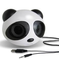 Mini bentuk Panda USB 2.0 aktif stereo portabel pembicara (Hitam/Putih)