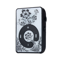 Mini Clip Flower Pattern MP3 Player Music Media Support Micro SD TF Card Black