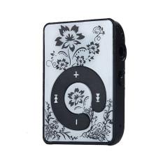 Mini Clip Flower Pattern MP3 Player Music Media Support Micro SD TF Card Black