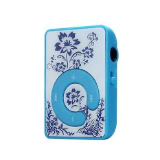Mini Clip Flower Pattern MP3 Player Music Media Support Micro SD TF Card Blue