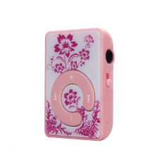 Mini Clip Flower Pattern MP3 Player Music Media Support Micro SD TF Card Pink