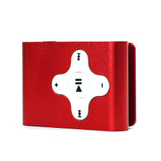 Mini Clip Metal USB MP3 Player Support Micro SD TF Card Music Media (Red)