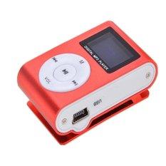 Mini MP3 Player Clip USB FM Radio LCD Screen Support For 32GB Micro SD (Red) (Intl)