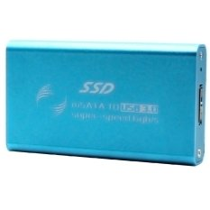 Mini Portable External MSATA To USB 3.0 SSD Solid State Drive Box Converter Case Drives Enclosure With USB Cable Blue