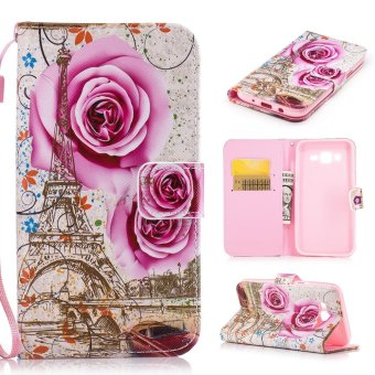Moonmini Case for Samsung Galaxy J5(2015) Leather Case Flip Wallet Stand Cover - Rose Tower - intl