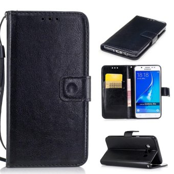 Moonmini Case for Samsung Galaxy J5(2016) J510 Leather Case Flip Wallet Stand Cover - Black - intl