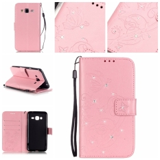 Moonmini Diamonds Butterfly PU Leather Flip Stand Cover for Samsung Galaxy J3 (2016) J310 (Pink)
