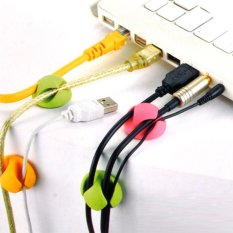 Multi-purpose Universal Cable Clips Cabledrops Green Pink Yellow Pack Of 6 - Intl
