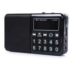 Multifunctional TF Card USB Music Speaker Portable FM / MW / SW Radio Player (Black) - Intl