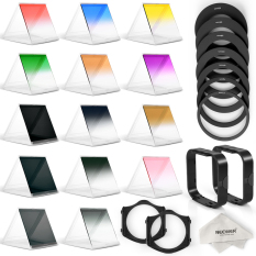 Neewer Complete Square Filter Kit 8 Graduate Color Filters + 6 NDFilters + 7 Ring Adapters - Intl