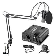 Neewer NW-700 mikrofon kondensor profesional dan NW-35 booming menggunting lengan suspensi stan dengan Imbo XLR kabel dan pemasangan klem dan NW-3 pop filter dan 48 V hantu sumber daya listrik dengan Kit Adaptor