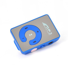 New Style High Quality Mini Mirror Clip MP3 Card Reader MP3 Music Players Support Micro SD / TF Card 6 Colors MP3 Player (Blue)