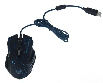 NiceEshop 6 Buttons 2000 DPI Wired Gaming Mouse LED Optical Game Mice (Black, Blue Dotted)