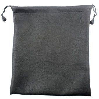 NiceEshop PU Leather Drawstring Bag Wrist Wallet For Small Electronics And Accessories, Black