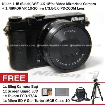 Nikon 1 J5 (Black) WiFi 4K VR 10-30mm f/3.5-5.6 + Memory V-Gen Turbo 16GB + Screen Guard + Camera Bag + Takara ECO-173A