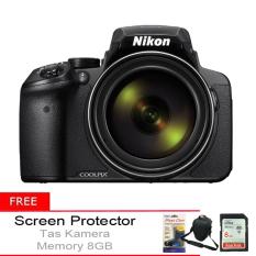 Nikon Coolpix P900 - 16MP - 83x Optical Zoom - Hitam + Gratis Tas Kamera + Memory 8GB + Screen Protector