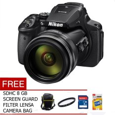 Nikon P900 - 16MP Black Free Memory, Screen Guard, Tas Camera dan Filter